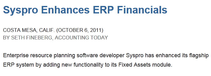 syspro fixed assets enhancements